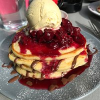 #10 American Pancakes with chocolate sauce, cherry sauce and ice cream.  Fabulous!