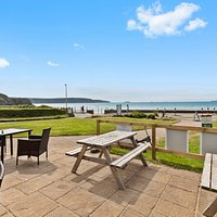 Seafront terrace at Sunshine Italian Broad Haven