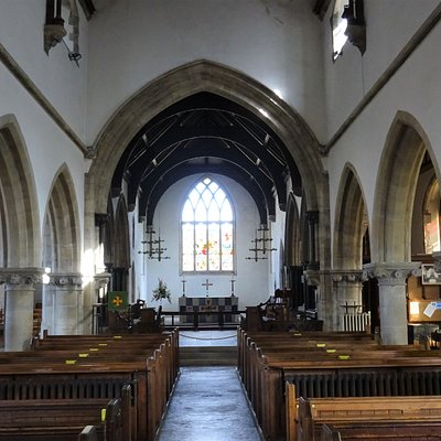 Interior of St Edward's Church - view towards altar