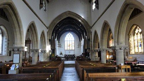 Interior of St Edward's Church - view towards altar