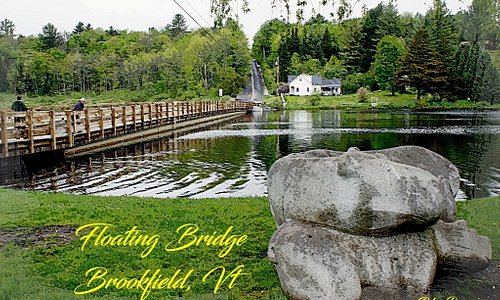 Stone Hippos and Flaoting Bridge in Brookfield, Vt