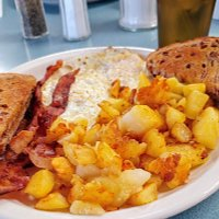 2 eggs, bacon, cinnamon toast and American fries, great value!