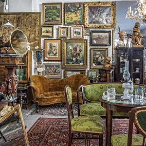 Interior of our antique shop. You can find old antiques of all types, jewelry, pictures and so on. Feel free to visit us on Kotlářksá 28 in Brno anytime.