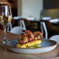 Shrimp & Grits Grilled Corn Polenta, Charred Scallion Cilantro Aioli, Pepper Chutney.