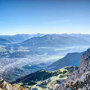 "View from the ""TOP OF INNSBRUCK"" towards Innsbruck."