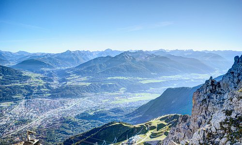"View from the ""TOP OF INNSBRUCK"" towards Innsbruck."