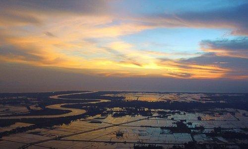 sunset with drone at Merdeka Beach Kota Kuala Muda Kedah..Welcome to Workaway 🌾🌾