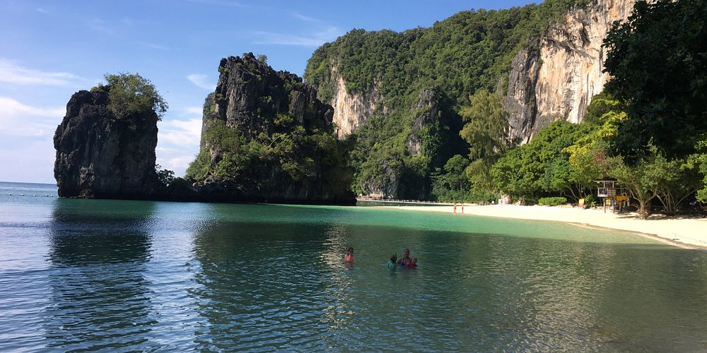 Beautiful beach, go early morning before the mass transports arrive. Ko Hong, Thailand