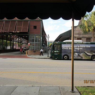 One stop for the DASH is conveniently located outside the Visitor's Center on John Street, just across from the Hampton Inn Historic Charleston location.