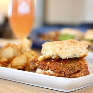 Chicken biscuit and beermosa