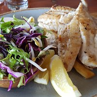 Grilled fish of the day with chips and salad for mains