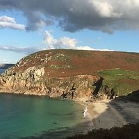 Looking down from the coastal path