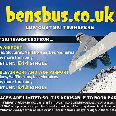 Bens Bus Grenoble and Lyon Airport Ski Transfer Prices