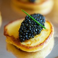 Mini Potato blini caviar delicious canape dish