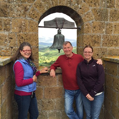 top of tower with wife and daughter.  Boiling oil can be dropped on anyone wishing to cross drawbridge!