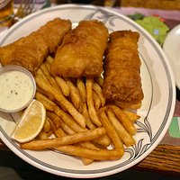 awesome fish + chips, hot + crispy