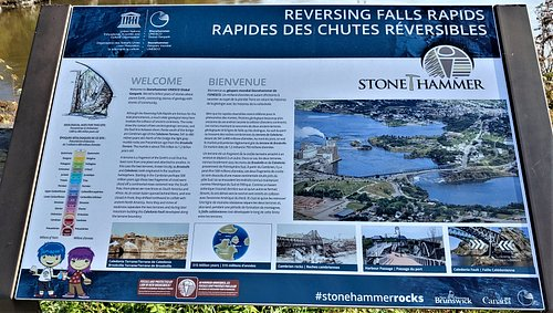 This is a welcome and informational sign for the Reversing Falls Rapids.  Photo taken October 3, 2019.