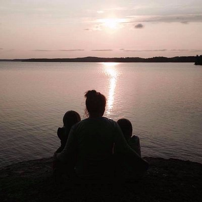 Me myself and I looking the beautiful sunset in the Lake Lohja. Really it is me and my two gorgeous daughters