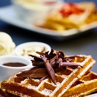 Belgian style waffles with real couverture chocolate!