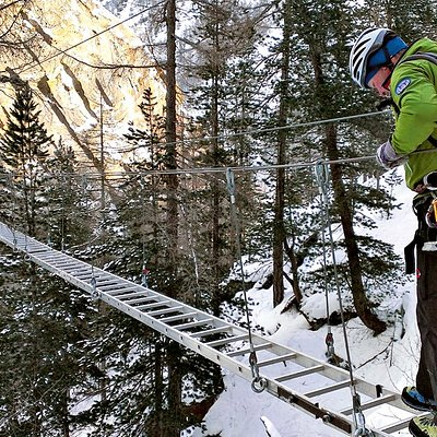Spectacular winter via ferrata in Saas-Fee