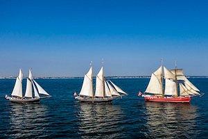 Sejl med os ud på vandet og tilsæt vide horisonter og bølgebrus til din personalefest eller dit firmaarrangement i København, Sjælland eller fra en anden havn i Danmark.