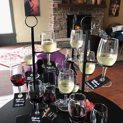Various wine flights at Hillside Winery