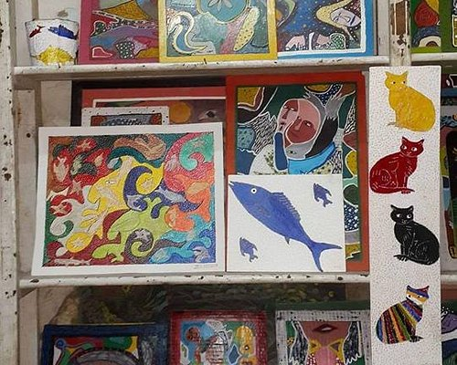 Artwork at Le Coin Des Artistes - some may have been sold!