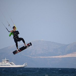 kitesurf jumping at Oropos, one of the main kitesurf spots in Athens, amazing wind which is thermal and blows usually between April - September