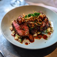 Chargrilled Flank, Thyme Crushed Celeriac & Baby Onion Jus