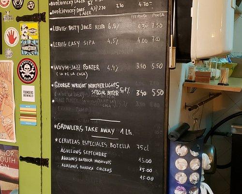 The beer menu