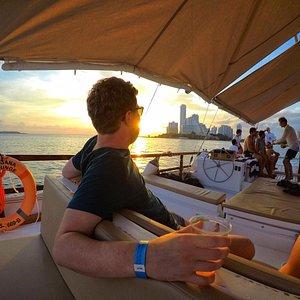 Sunset in Moana Lounge... Amazing catamaran!