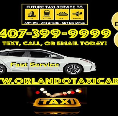 Orlando Airport Taxi 407-399-9999  With so many choices for taxis in Orlando I found the best one is www.OrlandoTaxiCab.com and www.CelebrationTaxi.com who you can call or text (407) 399-9999 the websites can also set up Airport pick ups and drop offs also to Sanford Airport and to Port Canaveral as well.  You can also save by using this link https://www.celebrationtaxi.com/Celebration_Taxi/Text_A_Taxi.html