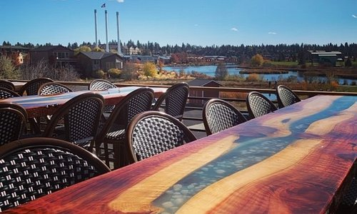 Riverfront patio at Monkless Brasserie