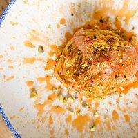 pasta gamberi rossi e pistacchio