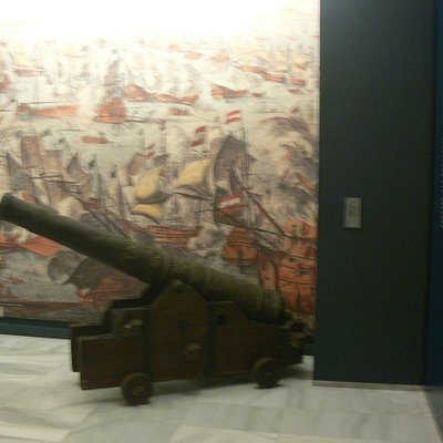 An exhibit of a canon in the Museum