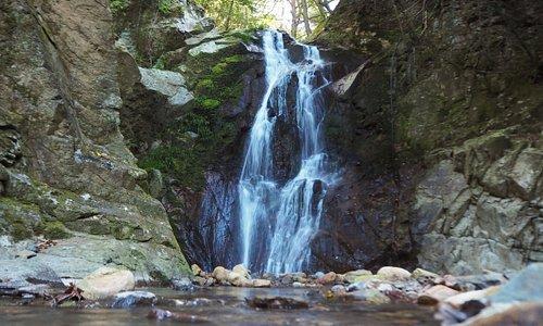 琴弾の滝 神社の裏の整備された川沿いの道を少し歩くと滝を見られる。水は少なめ。撮影日11月4日2019年
