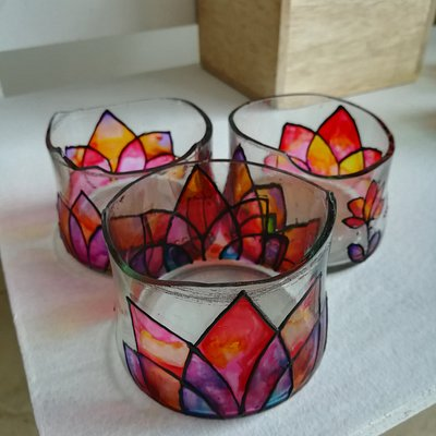 Upcycled, hand-painted glass items