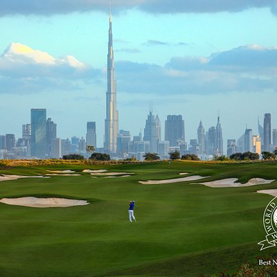 The stunning par 5 5th hole at Dubai Hills Golf Club by Jumeirah.
