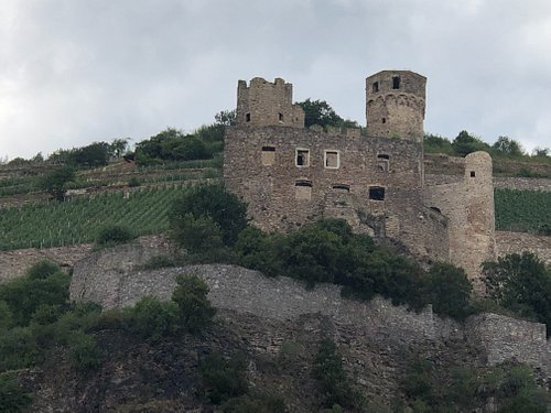 The castle ruins sit low down on the mountainside so it is easily seen from a river cruise. Coming from Mainz, look out for it on your right, just after you have passed Rudesheim.