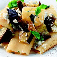 Paccheri Pasta with a tomato sauce aubergine and ricotta cheese