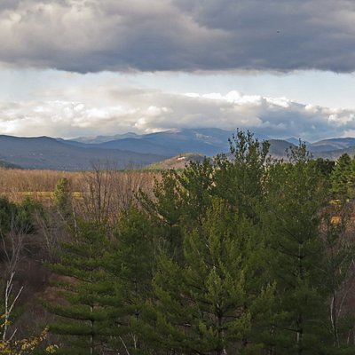 A cold autumn afternoon threatens snow on Mt Washington as seen from Intervale's Scenic Vista Visitors Center.