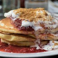 Strawberry Cheesecake Pancakes, $18