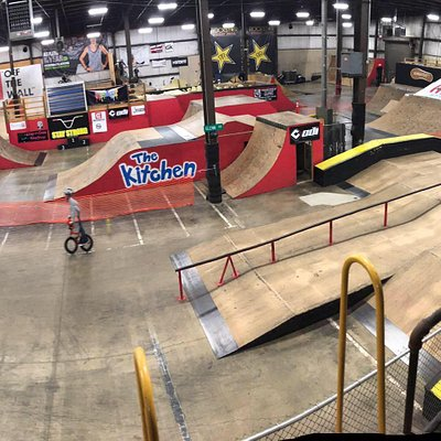 33,000 plus square feet to this facility full of opportunity to jump and freestyle.  Progression ramps with protective padded landings besides a plethora of wood street style features.  5 of 5 stars rating.  True background story of the industries best BMX rider.  Great people.  Amazing vibe.  Inspirational.  Making dreams come true.  You have to see it to believe it.  Incredible talent garden of the Midwest.  As seen on TV and the world wide web.  Check it out and go.  You will love it.