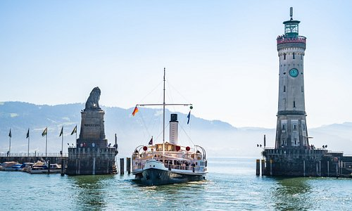 Lindau port entrance with the Bavarian Lion on the left and Germany's southernmost lighthouse on the right.