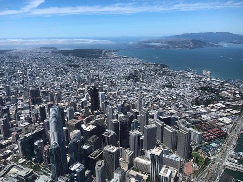 View of San Francisco from a Voom helicopter.