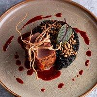 Tuna with aji panca sauce & black rice