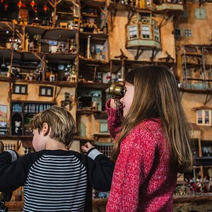 Children looking at The Mouse Mansion