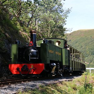 The engine clings to the edge of the valley as it climbs up to Devil's Bridge. Picture by Andrew Simmonds
