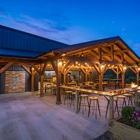 Timber frame patio and main entry to the tasting room / restaurant.