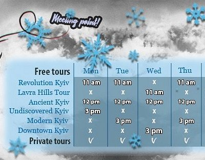 From 18.11.2019 we operate according the winter schedule!  Check time table not to miss your tour :)